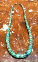 SANTO DOMINGO GREEN TURQUOISE HEISHI CHOKER NECKLACE Ray Lovato SOLD
