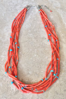 NECKLACE SANTO DOMINGO SALMON CORAL 7 STRAND TURQUOISE AND SILVER BEAD ACCENTS