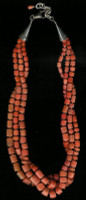 SANTO DOMINGO CORAL THREE STRAND HEISHI NECKLACE SDCOTSHN4