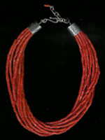 SANTO DOMINGO CORAL 9 STRAND HEISHI CHOKER NECKLACE_28 SOLD