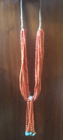 SANTO DOMINGO CORAL 8 STRAND HEISHI JOCLA NECKLACE