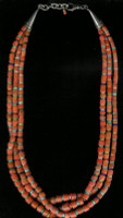 SANTO DOMINGO CORAL THREE STRAND HEISHI NECKLACE
