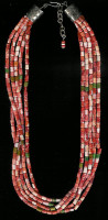 SANTO DOMINGO 5 STRAND SPINY OYSTER SHELL HEISHI NECKLACE Ken Aguilar SD5SSOSHN2 SOLD