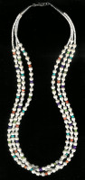 SANTO DOMINGO 3 STRAND CORAL HEISHI NECKLACE