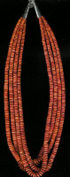 SANTO DOMINGO 4 STRAND SPINY OYSTER SHELL HEISHI NECKLACE Ken Aguilar SOLD