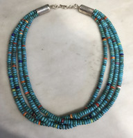 SANTO DOMINGO 4 STRAND TURQUOISE HEISHI BEAD CHOKER NECKLACE Ken Aguilar SOLD