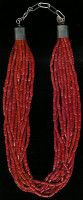 SANTO DOMINGO CORAL 13 STRAND TUBULAR BEADED HEISHI NECKLACE Ken Aguilar SOLD