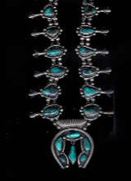 SQUASH BLOSSOM NECKLACE 1960'S 20 STONES RARE BISBEE TURQUOISE NECKLACE Richard Henry Yazzie_11