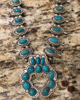 Don Lucas Blue Gem Squash Blossom Necklace 8
