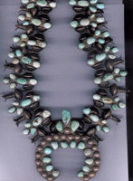 SQUASH BLOSSOM NECKLACE SPIDERWEB #8 TURQUOISE PAWN HARMSON COLLECTION  _37 SOLD