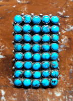 RINGS ZUNI SILVER TURQUOISE CLUSTER RECTANGULAR SOLD