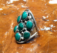 RINGS ZUNI SILVER MALACHITE PETTIEPOINT DOMED PAWN