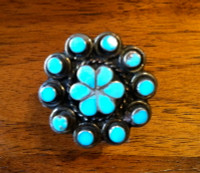 RINGS ZUNI SILVER MULTI-INLAY TURQUOISE FLORAL Dishta SOLD