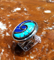 RINGS ZUNI SILVER MULTI-INLAY LAPIS TURQUOISE HUMMINGBIRD DESIGN Dickie Quandelacy SOLD