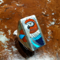 RINGS ZUNI SILVER MULTI-COLOR INLAY RED MACAW CORAL MACAW PARROT TURQUOISE LAPIS SHELL H.M. Coonsis SOLD