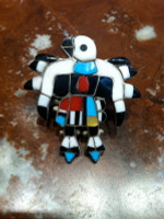 RINGS ZUNI SILVER MULTI-COLOR INLAY EAGLE DANCER Charlie M Poncho