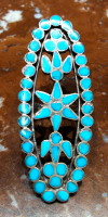 RINGS ZUNI SILVER INLAY TURQUOISE CLUSTER PAWN Dishta