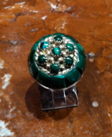 RINGS ZUNI SILVER MALACHITE PETTIPOINT DOMED RAISED INLAY Lee & Mary Weebothee SOLD