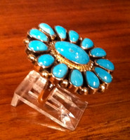 RINGS ZUNI GOLD TURQUOISE CLUSTER JW