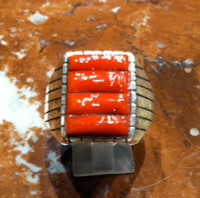 RINGS NAVAJO CORAL RAISED INLAY STERLING B