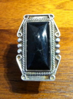 RING RECTANGULAR ONYX BLACK MARBLE ESTATE PAWN