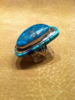 RING POTAWATOMI SILVER RAISED INLAY MORENCI TURQUOISE CORAL IRONSTONE ONYX John Shopteese SOLD