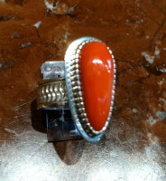 RINGS NAVAJO ZUNI SILVER CORAL Jay Livingston RNZSCJL16 SOLD