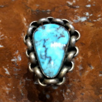 RINGS NAVAJO SILVER TURQUOISE PAWN RNSTP27