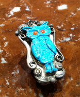 RINGS NAVAJO ZUNI SILVER TURQUOISE OWL VINTAGE PAWN