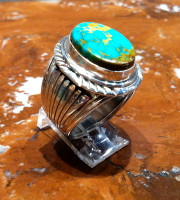 RINGS NAVAJO SILVER TURQUOISE OVAL RNSTO54 SOLD