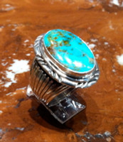 RINGS NAVAJO SILVER TURQUOISE OVAL RNSTO53 SOLD