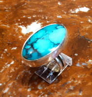 RINGS NAVAJO SILVER TURQUOISE OVAL Everett & Mary Teller SOLD