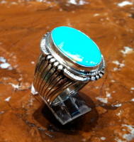 RINGS NAVAJO SILVER TURQUOISE OVAL SOLD