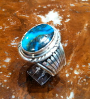 RINGS NAVAJO SILVER TURQUOISE OVAL RNSTO40