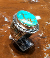RINGS NAVAJO SILVER TURQUOISE OVAL RNSTO287 SOLD