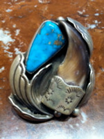 RINGS NAVAJO SILVER TURQUOISE BEAR CLAW SOLD