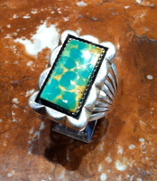 RINGS NAVAJO SILVER MANASSA TURQUOISE SOLD