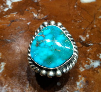 RINGS NAVAJO SILVER TURQUOISE D SOLD