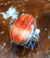 RINGS NAVAJO SILVER RARE ORANGE SPINY OYSTER SHELL Everett & Mary Teller SOLD