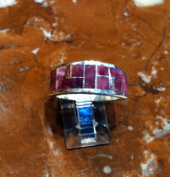 RINGS NAVAJO SILVER PURPLE RARE SPINY OYSTER SHELL BAND
