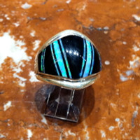 RINGS NAVAJO SILVER OPAL ONYX Kenneth Bitsie SOLD