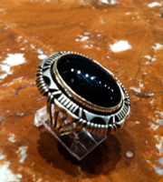 RINGS NAVAJO SILVER ONYX MARY TELLER SOLD