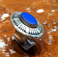 RINGS NAVAJO SILVER LAPIS CABOCHON OVAL Kee Nez RNSLCOKN2 SOLD