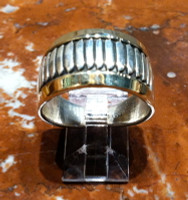 RINGS NAVAJO SILVER GOLD BAND FEATHER PATTERN DESIGN Herbert Begaye SOLD
