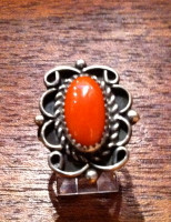 RINGS NAVAJO SILVER CORAL Susie Lee SOLD