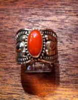 RINGS NAVAJO SILVER STAMPED REPOSE CORAL CABOCHON Derrick SOLD