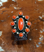 RING NAVAJO SILVER CORAL SOLD