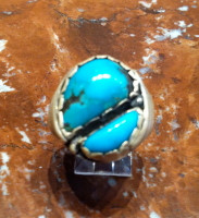 RINGS NAVAJO SILVER BLUE GEM TURQUOISE PAWN SOLD