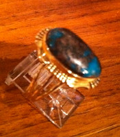 RINGS NAVAJO GOLD BISBEE TURQUOISE RING