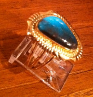 RINGS NAVAJO GOLD BISBEE ASYMMETRICAL TURQUOISE RING